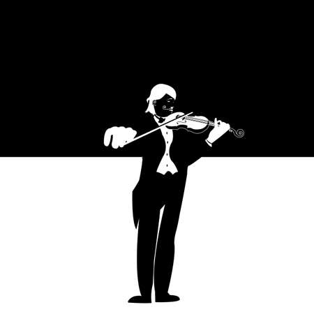 Black and White Violonist Illustration dressed up for a performance illustration