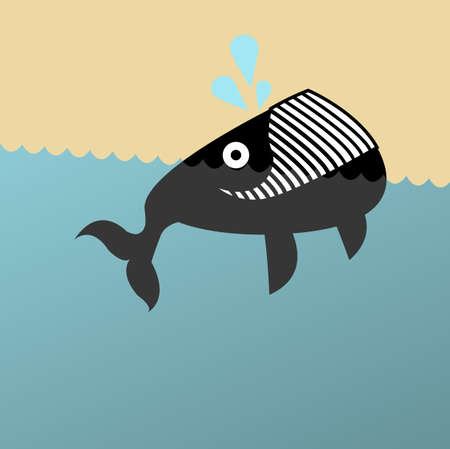 cetaceans: Retro illustration of a grinning whale Stock Photo