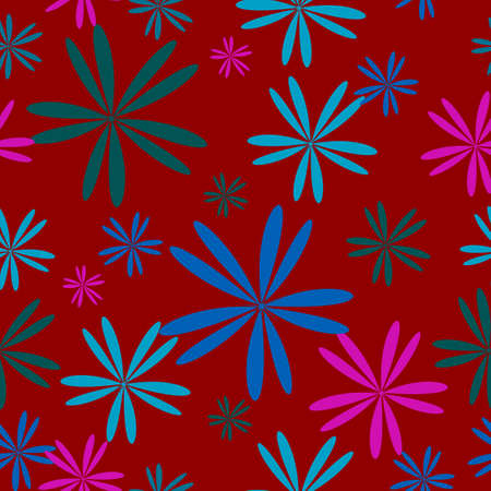 Simplistic flowers pattern on red background photo