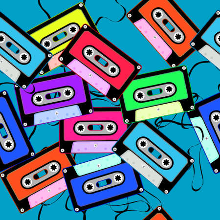 eighties: Seamless pattern with cassettes on blue background