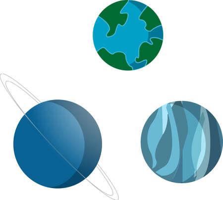 Blue planets - Earth, Neptune, Uranus, isolated photo