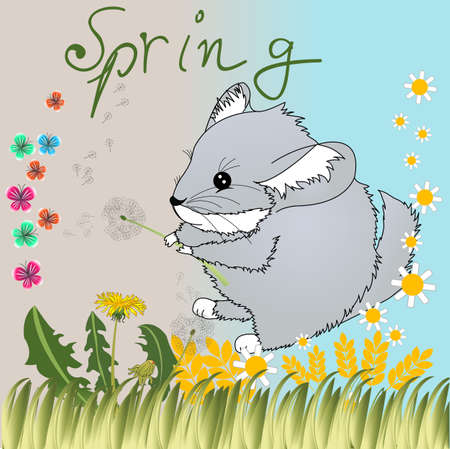 Spring illustration with chinchilla and pretty flowers illustration
