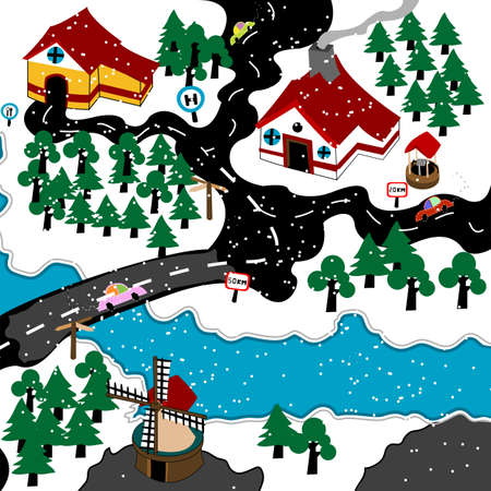 family outside house: Cute village in the winter, illustration