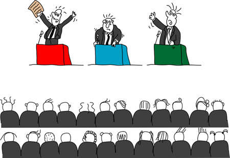 listeners: Doodles of politicians giving speeches, isolated Stock Photo