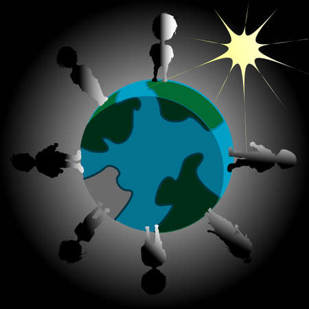 Earth blackout illustration with Sun and people Stock Illustration - 12797861