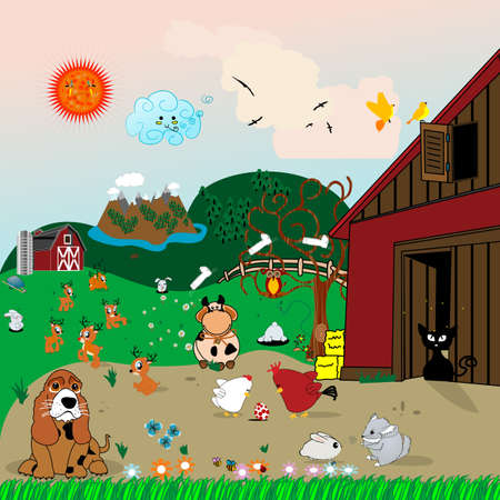 Farm animals illustration with domestic animals and landscape illustration