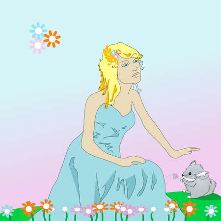 Card with a princess and a chinchilla, illustration illustration
