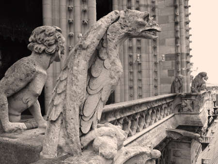 gargouilles: Gargouilles au sommet de la cath�drale Notre-Dame Banque d'images