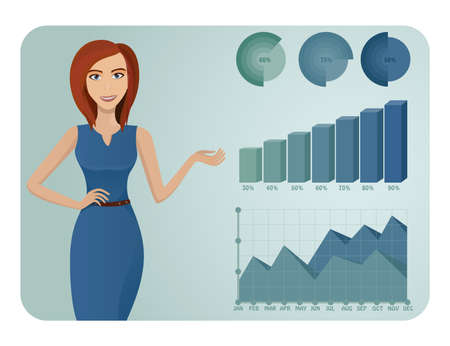 Business woman showing graphs