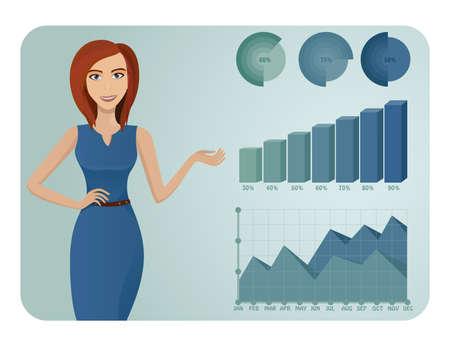 Donna d'affari che mostra grafici Vettoriali