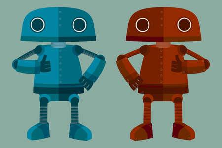 blue  red: Nice Blue & Red Robot Illustration