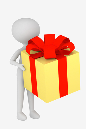 man holds yellow gift box with red ribbon bow on white background