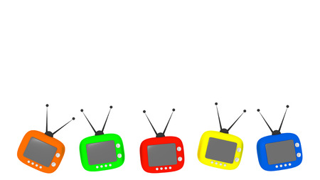 Five colorful retro televisors on white background copy space