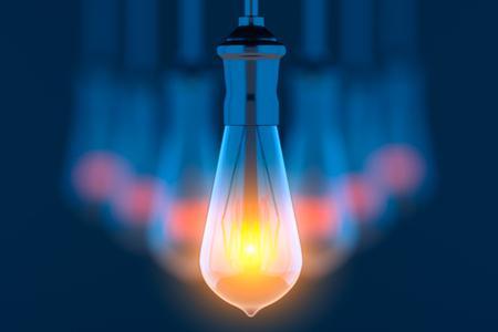 Glowing lightbulbs on blue background 3D illustration