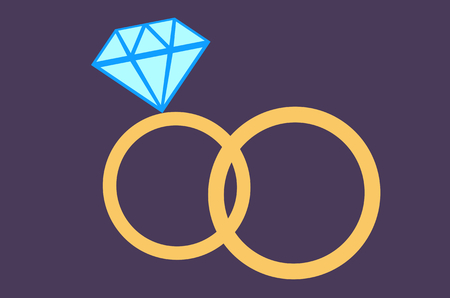Two wedding rings on purple background illustration