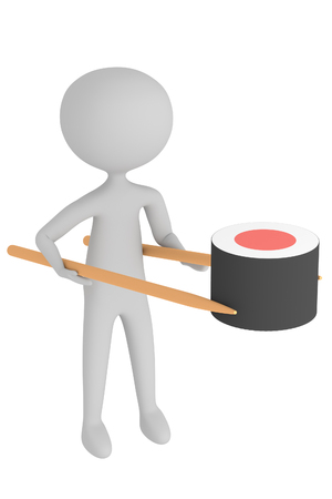 Character holds sushi wth chopsticks on white background illustration