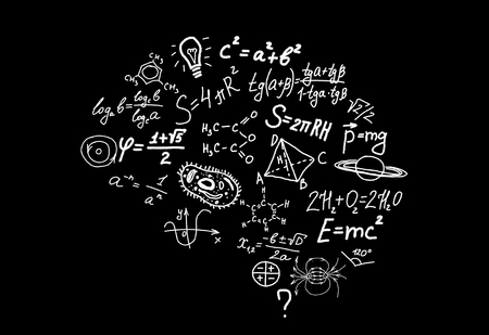 Shape of human brain of scienctific symbols, formulas and equations of math, chemistry, biology, physics, geometry on black background 3D illustration