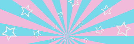 Pink and blue striped background with white stars 3D illustration panorama copy space Reklamní fotografie
