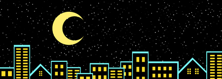 Night urban city landscape with stars and the moon in the sky 3D illustration panorama