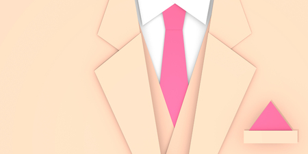 Light beige groom wedding suit with tie close up 3D illustration copy space