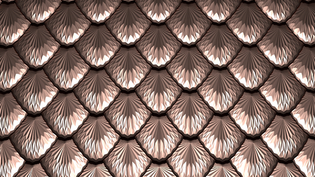 Golden scales horizontal textured abstract background 3D illustration