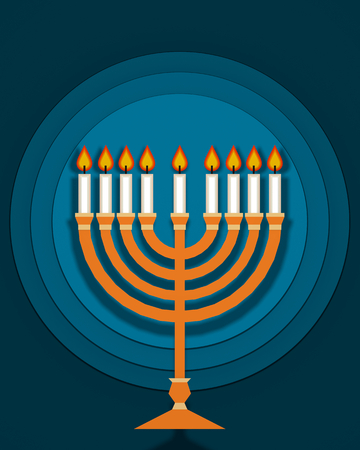Hannukah candlestick traditional jewish religious symbol on blue background flat lay design 3D illustration Stok Fotoğraf