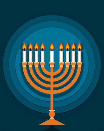 Hannukah Kerzenständer traditionelles jüdisches religiöses Symbol auf blauem Hintergrund flaches Design 3D-Darstellung