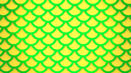Yellow green fish scales bright cells pattern marine background horizontal 3D illustration Stock Photo