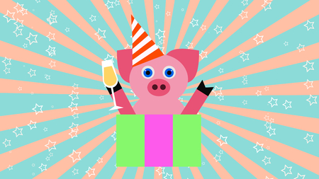 Pig with a glass of champagne and funny hat new year party background 3D illustration 写真素材