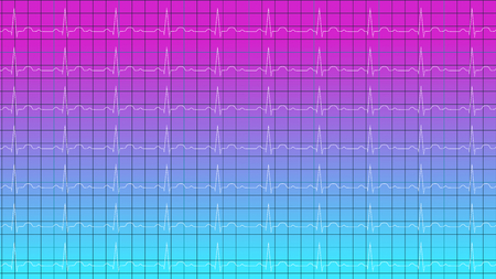 White cardiogram on gradient blue violet background horizontal 3D illustration
