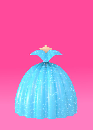 Blue shiny fluffy ball dress on pink background 3D illustration. Concept of modeling luxury dresses for special events as prom wedding beauty contests differrent awards and ceremonies. Copy space