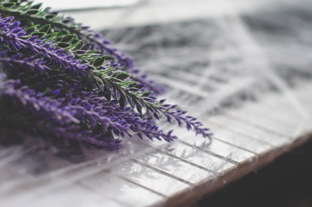 A bouquet of lavender close up lies on the keyboard of piano covered with spiderweb. Romantic spring backgroud Stock Photo