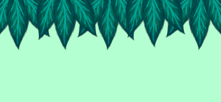 Green leaves foliage line on light background copy space in the centre 3D illustration