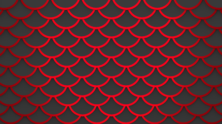 Red fish scales dark gray pattern marine background horizontal 3D illustration
