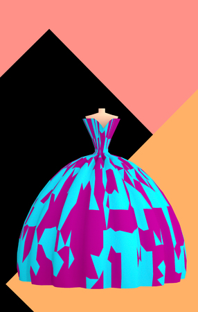 Beautiful blue violet ball gown for prom on abstract background vertical 3D illustration with copy space