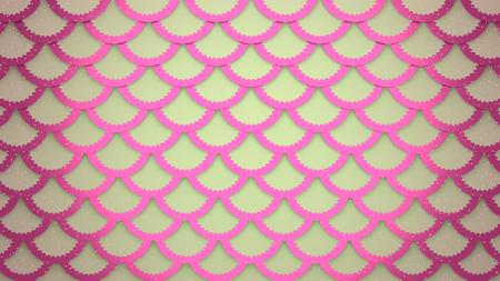 Pink fish scaly marine background horizontal 3D illustration