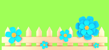 Golden fence and five blue flowers on spring green background 3D illustration. Horizontal banner with copy space