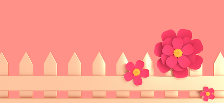 Golden fence and three pink flowers on light coral pastel background 3D illustration. Horizontal banner with copy space