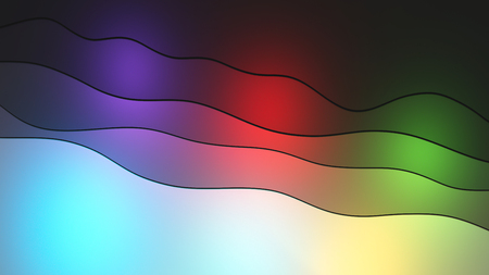 Abstract wavy lines and colorful sources of light horizontal 3D illustration with copy space