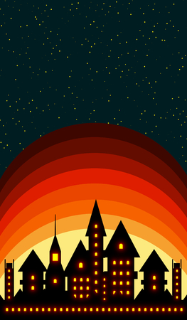 Silhouette of an ancient castle with shining windows on sunset and starry night sky background vertical 3D illustration