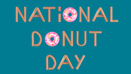Gold text national donut day on blue green background 3D illustration