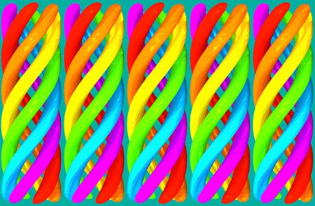 Versicolor spiral elements abstract background vivid horizontal 3D illustration