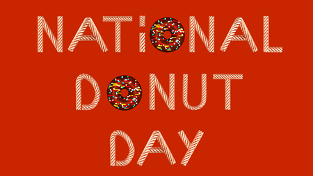 Gold text national donut day on red background 3D illustration