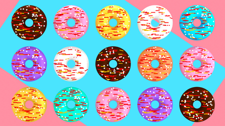 Lots of colorful donuts on blue pink background 3D illustration Фото со стока