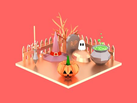 Halloween isometric scene with pumpkin witch hat ghost and potion pot on the graveyard 3D illustration in low poly style on coral background