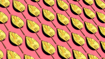 Yellow golden autumn leaves on pink background horizonal 3D illustration. Stylish seasonal backdrop
