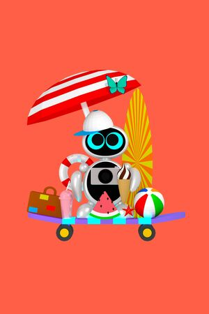 Cute robot is ready for vacation with different summer attributes 3D illustration. Concept of packing luggage and enjoying holidays Reklamní fotografie