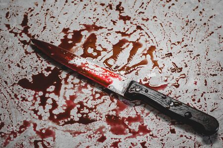Bloody knife lies on the creepy messy background. Concept of a domestic killings and horror movies Stok Fotoğraf