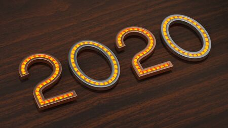 Metallic numeral 2020 with glowing bulbs on wooden background 3D illustration. Symbol of a next year