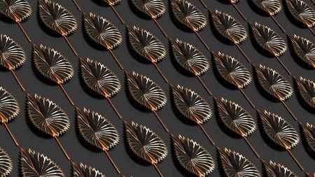 Rows of black golden autumn leaves on dark grey background horizonal 3D illustration. Stylish seasonal pattern